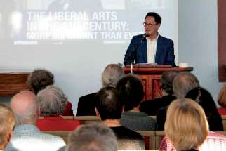 UBC president Santa Ono at a public lecture.