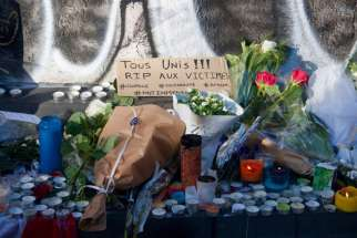 A memorial is seen at the Place de la Republique in Paris Nov. 15.