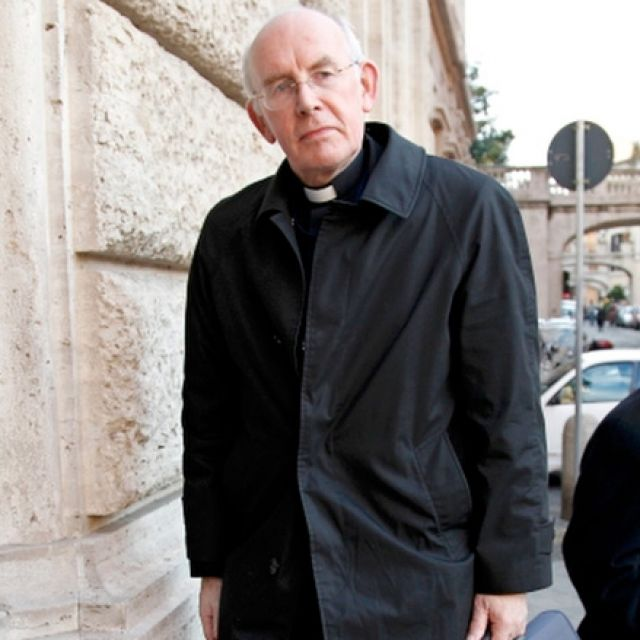 "Cardinal Sean Brady of Armagh, Northern Ireland, arrives at the Pontifical Gregorian University ahead of a news conference in downtown Rome Feb. 9. The cardinal was attending a four-day symposium called ""Toward Healing and Renewal."""