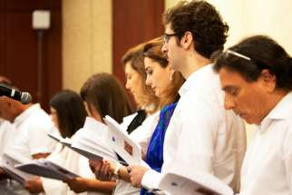Choir members sing at the In Defense of Christians Ecumenical Prayer Service July 15, 2019, in Washington. The prayer service opened the second annual Ministerial to Advance Religious Freedom, taking place July 16-18 and convening government officials, representatives of international organizations, faith leaders, rights advocates and members of civil society organizations from around the world to discuss challenges to religious freedom.