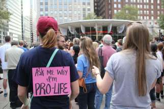 Pro-life demonstrators at a pro-life rally.