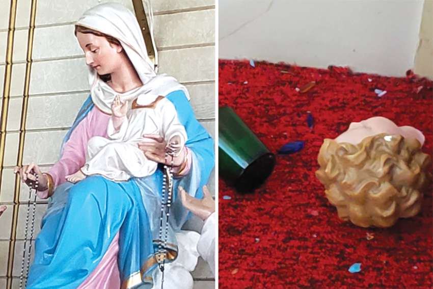 The head of this statue of the baby Jesus was knocked off during a break-in at St. John the Baptist (Polska) Church in Beaver County, near Camrose, Alta.