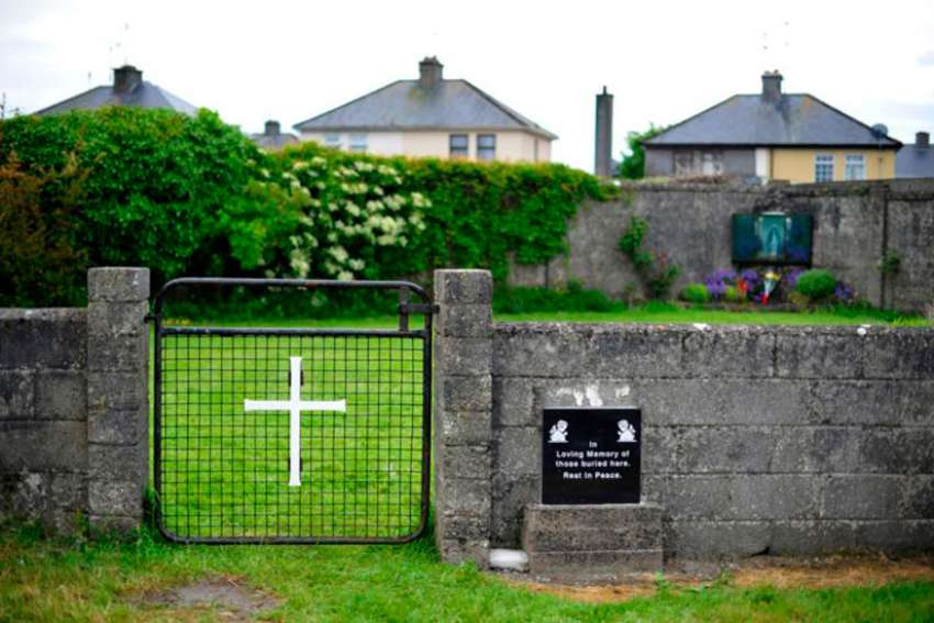 The entrance to the site of a burial site at the former Mother and Baby home in Tuam, County Galway, Ireland is seen in this 2014 file photo. The Mother and Baby Homes Commission of Investigation is probing how unmarried mothers and their babies were treated between 1922 and 1998 at 18 state-regulated institutions, many of them run by religious orders.