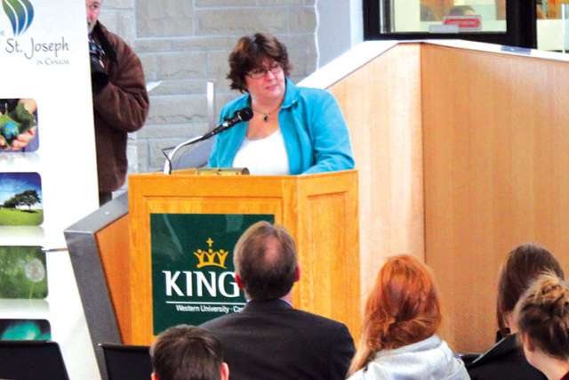 Michelle Hurtubise, the executive director of the London InterCommunity Health Centre, speaks at the launch of the London Poverty Research Centre at King's College in London, Ont.