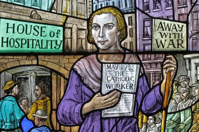 Dorothy Day, co-founder of the Catholic Worker movement and its newspaper, The Catholic Worker, is depicted in a stained-glass window at Our Lady of Lourdes Church in the Staten Island borough of New York.