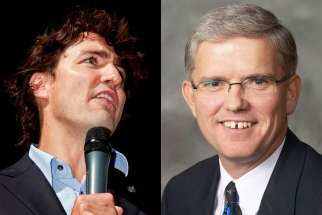 Liberal leader Justin Trudeau, left, has come under fire from Pat Daly and the Hamilton Catholic school trustees due to his decree that all future Liberals must be pro-choice.