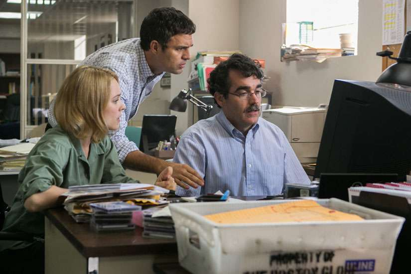 "Rachel McAdams, Mark Ruffalo and Brian d'Arcy James star in a scene from the movie ""Spotlight."" A Brazilian priest mentioned in the movie committed suicide while in custody Aug. 7."