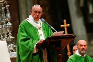 Pope Francis celebrates a Jubilee Mass for prisoners Nov. 6 in St. Peter's Basilica at the Vatican.