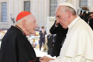 Pope Francis meets then-Cardinal Theodore E. McCarrick during his general audience at the Vatican June 19, 2013.
