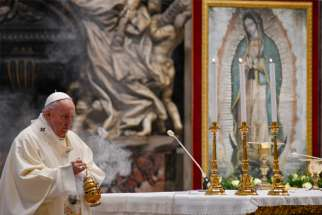 Pope Francis uses incense as he celebrates Mass marking the feast of Our Lady of Guadalupe in St. Peter's Basilica at the Vatican Dec. 12, 2020.