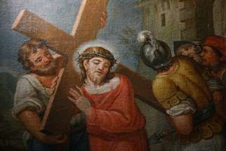 Jesus carries his cross in this painting in a chapel at the Pontifical Sanctuary of the Holy Stairs in Rome March 10.