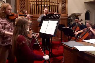 The Seat of Wisdom College Instrumental Ensemble accompanied the Ecclesiastical Schola choir in an Advent concert at St. Hedwig's Church in Barry's Bay, Ont., on Dec. 2.