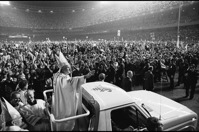 Pope John Paul II at old Yankee Stadium, New York City, in October 1979