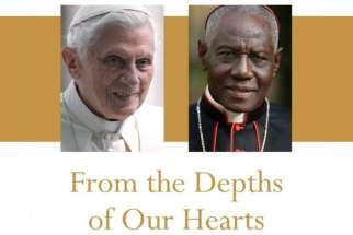 "This is from the cover of ""From the Depths of Our Hearts,"" by retired Pope Benedict XVI and Cardinal Robert Sarah, prefect of the Congregation for Divine Worship and the Sacraments. In the book they defend priestly celibacy, an issue that was discussed at last year's Synod of Bishops for the Amazon."