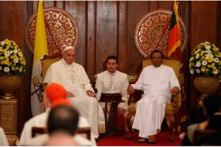 Pope Francis and Sri Lankan President Maithripala Sirisena visit in a presidential office in Colombo, Sri Lanka, Jan. 13.
