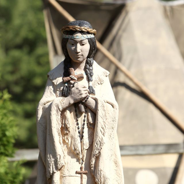 A statue of Blessed Kateri Tekakwitha is seen outside the Kateri Shrine in Fonda, N.Y., in this 2010 file photo.