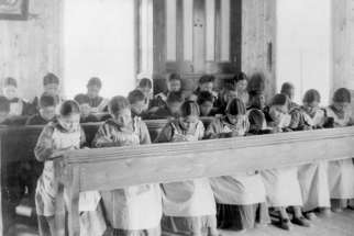 Study period at Roman Catholic Indian Residential School, [Fort] Resolution, Northwest Territories, date unknown.