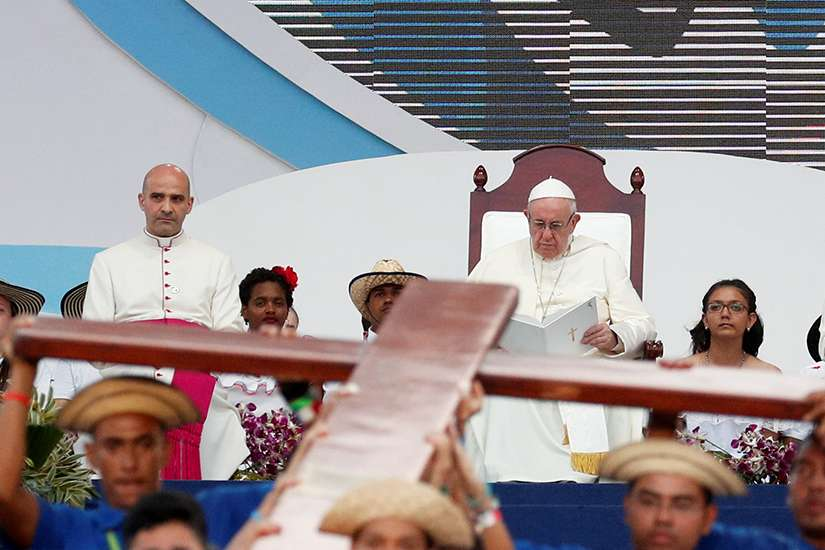 Pope Francis joins World Youth Day pilgrims in the Way of the Cross at Santa Maria la Antigua Field in Panama City Jan. 25, 2019.