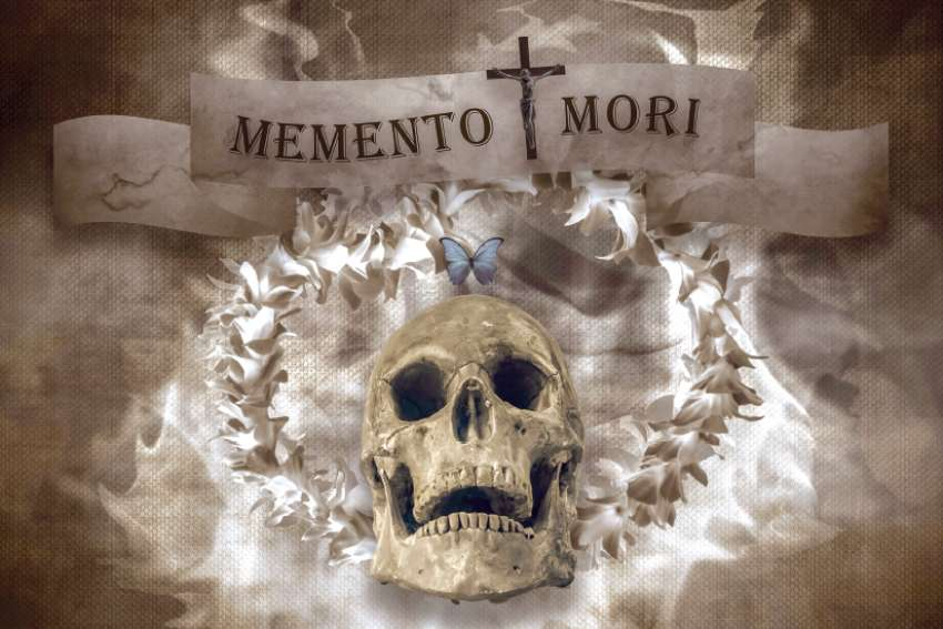 This is a photo illustration depicting memento mori, a reminder of one's death. A new devotional is intended to remind us of our mortality.