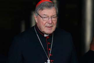 Australian Cardinal George Pell is seen in this Oct. 6, 2014 file photo at the Vatican.