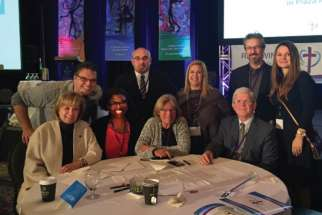 Some 600 Catholic educators gathered for a symposium on Catholic education in Toronto Nov. 14-15, among them, front row seated, OCSTA representatives Beverley Eckensweiler, Sharon McMillan, Kathy Burtnik and Patrick Daly. In the back row (L to R) are members of the Ontario Association of Parents in Catholic Education: Chuck Farmer, Maurizio Ruberto, Annalisa Crudo-Perri, Tony Lorini and Mariana Koutin-Morais.