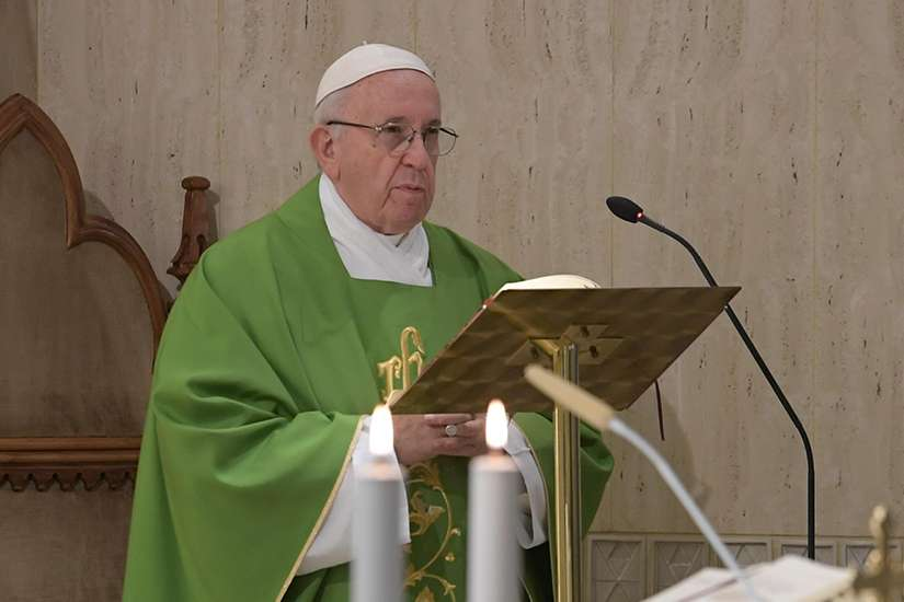 Pope Francis gives the homily as he celebrates morning Mass in the chapel of his residence, the Domus Sanctae Marthae, at the Vatican Sept. 11. The Pope said the devil seeks to reveal sins in order to scandalize the people of God.