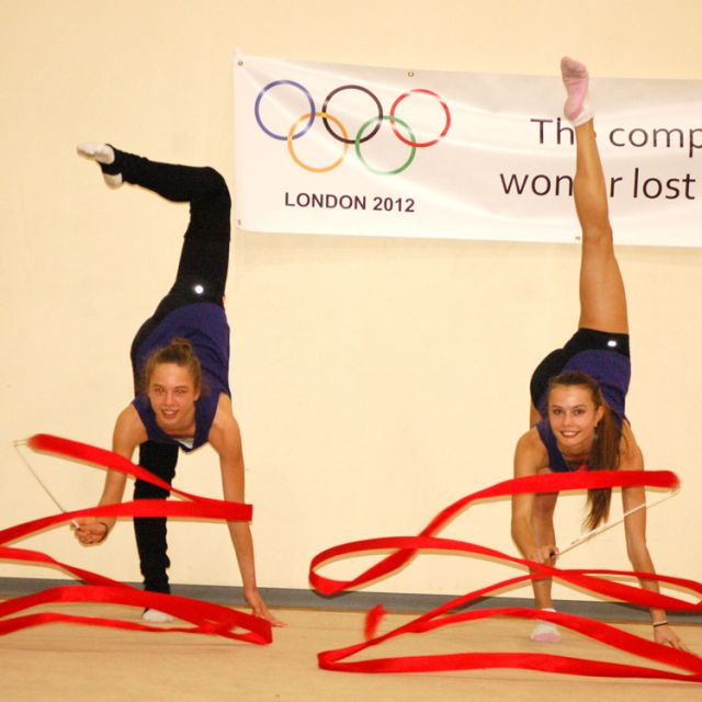 Anastasiya Muntyanu (left) and Anjelika Reznik show off their ribbon skills. The two Toronto Catholic high school students will be representing Canada in rhythmic gymnastics at the Olympic Summer Games in London beginning July 27.