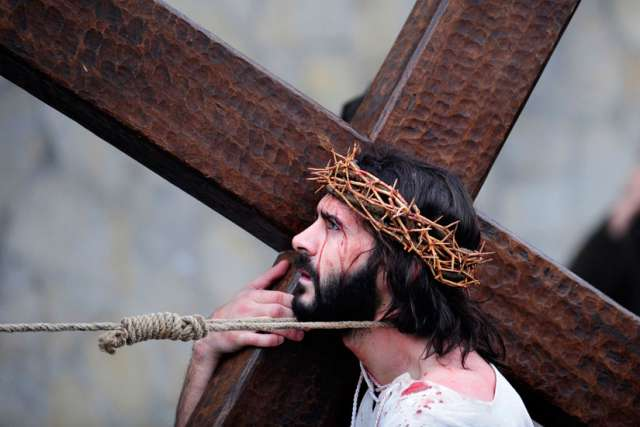 The Passion is played out on Good Friday last year in the Basque town of Balmaseda, Spain.
