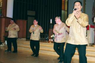 The Cebu Clergy Performing Artists are, from left, Fr. Jun Gutierrez, Fr. Kipling Agravante, Fr. Zachary Zacarias and Fr. Rudy Ibale, MSC. They are performing at Our Lady of Good Counsel parish in Surrey, B.C., Aug. 14.