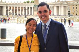 Kathleen-Rosebelle Diaz, right, and Joseph San José attended group sessions at a youth fourm in Rome where they discussed how to apply Christus Vivit in their own Church communities.