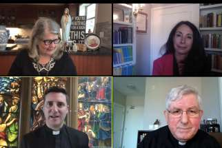 A screenshot from the virtual RiseUp conference features, clockwise from top left, Dorothy Pilarski, Dr. Josephine Lombardi, Cardinal Thomas Collins and Fr. Ed Curtis of St. Michael's Cathedral-Basilica.