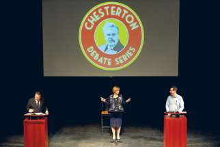 On Feb. 27, Iain Benson, left, and Leslie Rosenblood, right, take part in the Chesterton Debate Series, a lively, but friendly debate on whether religion should have a role in the political sphere. Lorna Dueck was the moderator.