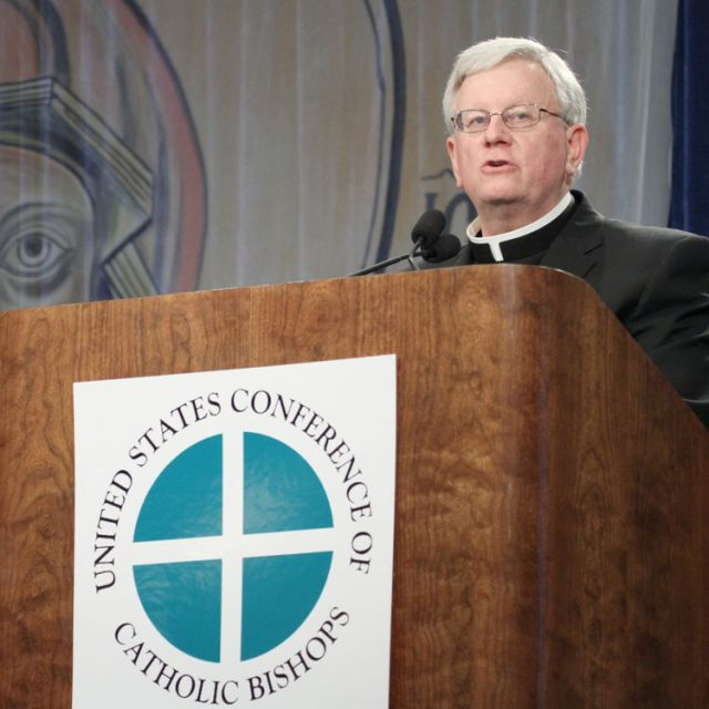 Bishop David L. Ricken of Green Bay, Wis., speaks June 13 about the Year of Faith declared for the church by Pope Benedict XVI. The bishop spoke about the 201-2-13 observance during the mid-year meeting of the U.S. Conference of Catholic Bishops in Atlanta.