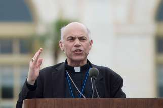 "San Francisco Archbishop Salvatore J. Cordileone speaks to traditional marriage supporters in Washington June 19, 2014. Archbishop Cordileone criticized ""gender ideology"" as a threat to society and the church."