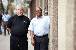 Br. Tom Liss, OH, Director of Hospitality and Shelter Services, left, and Aklilu Wendaferew, assistant executive director of Toronto's Good Shepherd