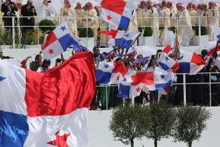 Panamanian flags are seen after Pope Francis celebrated the World Youth Day closing Mass in 2016 at the Field of Mercy in Krakow, Poland.
