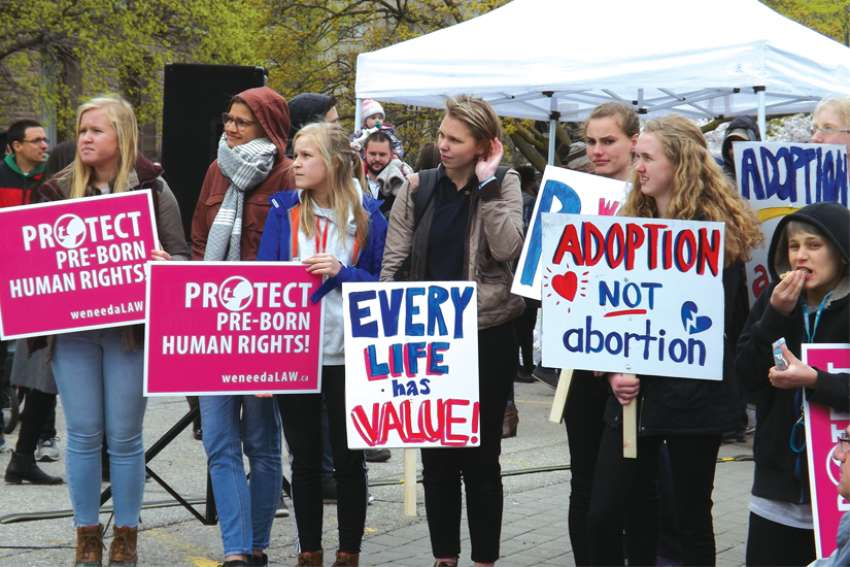 The March for Life in Toronto last year drew many young people to Queen's Park showing their support for the pro-life movement.