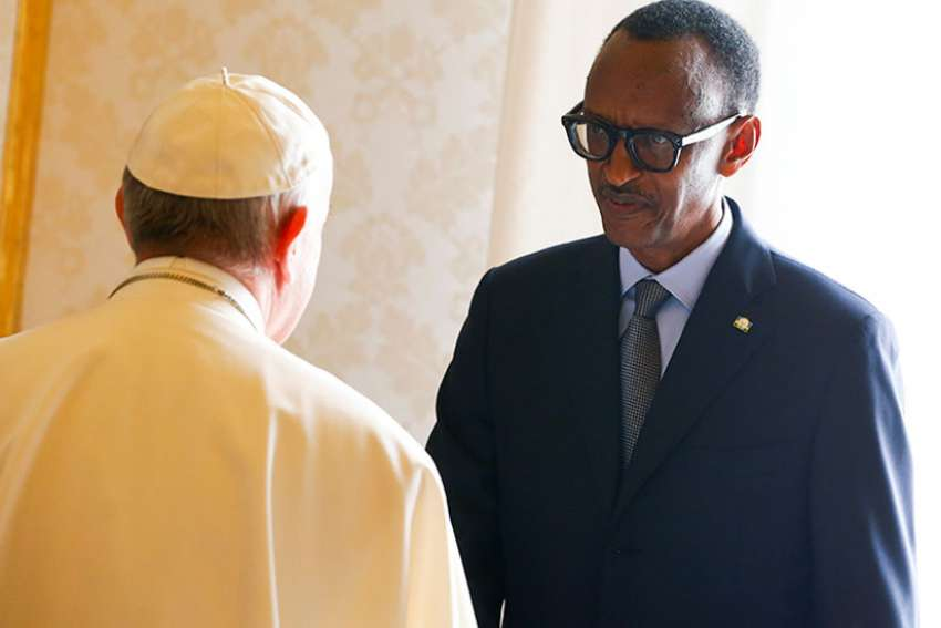 Rwanda's President Paul Kagame greets Pope Francis during a private meeting at the Vatican March 20, 2017.