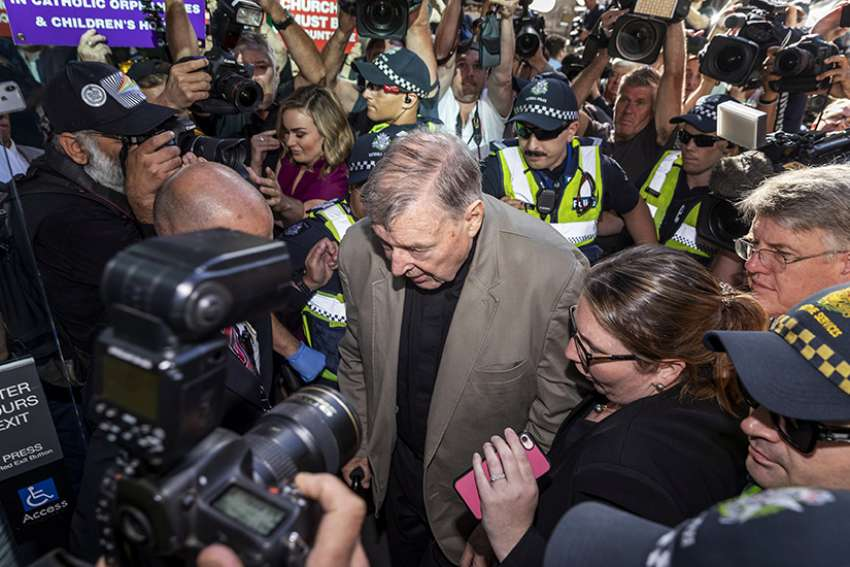Australian Cardinal George Pell arrives at the County Court in Melbourne Feb. 27, 2019. Cardinal Pell was jailed after being found guilty of child sexual abuse; the Vatican announced his case would be investigated by the Congregation for the Doctrine of the Faith.