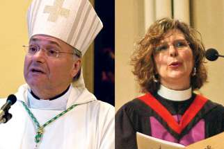 Archbishop Anthony Mancini of Halifax-Yarmouth, left, says the CCCB is still involved in social justice, including staying as a member of the Canadian Council of Churches, which is led by executive director Rev. Karen Hamilton, right.