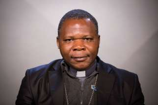 Archbishop Dieudonne Nzapalainga of Bangui, president of the Central African Republic bishops' conference, poses for a photo in Washington Nov. 6.