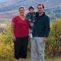 Lay missionaries Mike and Tina Girard with four-year-old son Johnathan, at Christ the King mission, Mayo, Yukon.