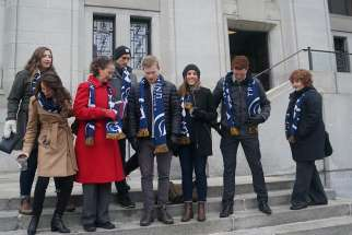 Trinity Western law students stand outside Canada's Supreme Court.