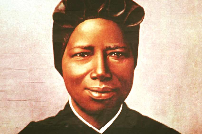 A tapestry portrait of St. Josephine Bakhita, an African slave who died in 1947 and was canonized in 2000.