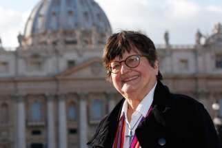 St. Joseph Sister Helen Prejean, who has worked in prison ministry and against the death penalty for decades, is pictured in St. Peter's Square at the Vatican Jan. 21. During a meeting the same day, Pope Francis asked Sister Prejean about the case of Richard Masterson, a Texas man who was executed the previous day.