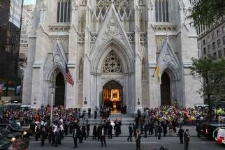 ope Francis arrives at St. Patrick's Cathedral in New York City for an evening prayer service Sept. 24.