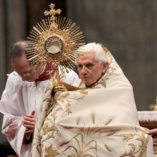 Pope Benedict XVI holds a monstrance as he leads a vespers service in the Vatican's St. Peter's Basilica with members of religious orders Feb. 2, the feast of the Presentation of the Lord and the World Day for Consecrated Life.