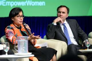 "Canada's Minister of Finance Bill Morneau at the IMF 2017 World Bank meeting on ""Boosting Women's Economic Empowerment"" in Washington, D.C., April 2017."