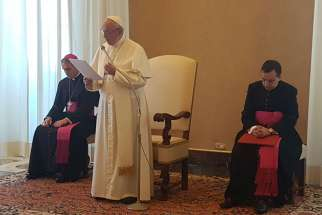 Pope Francis speaks to seminarians studying in Rome's Pontifical Romanian College May 5.