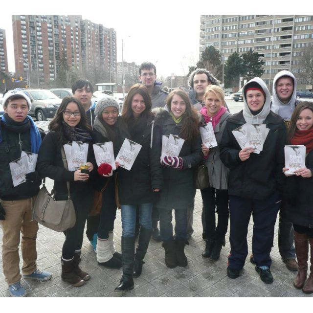 This group of Campaign Life Coalition youth volunteers braved the elements Jan. 14 to distribute pamphlets in Mississauga calling for the de-funding of abortion. Youth targeted 24 ridings across Ontario with the blitz.